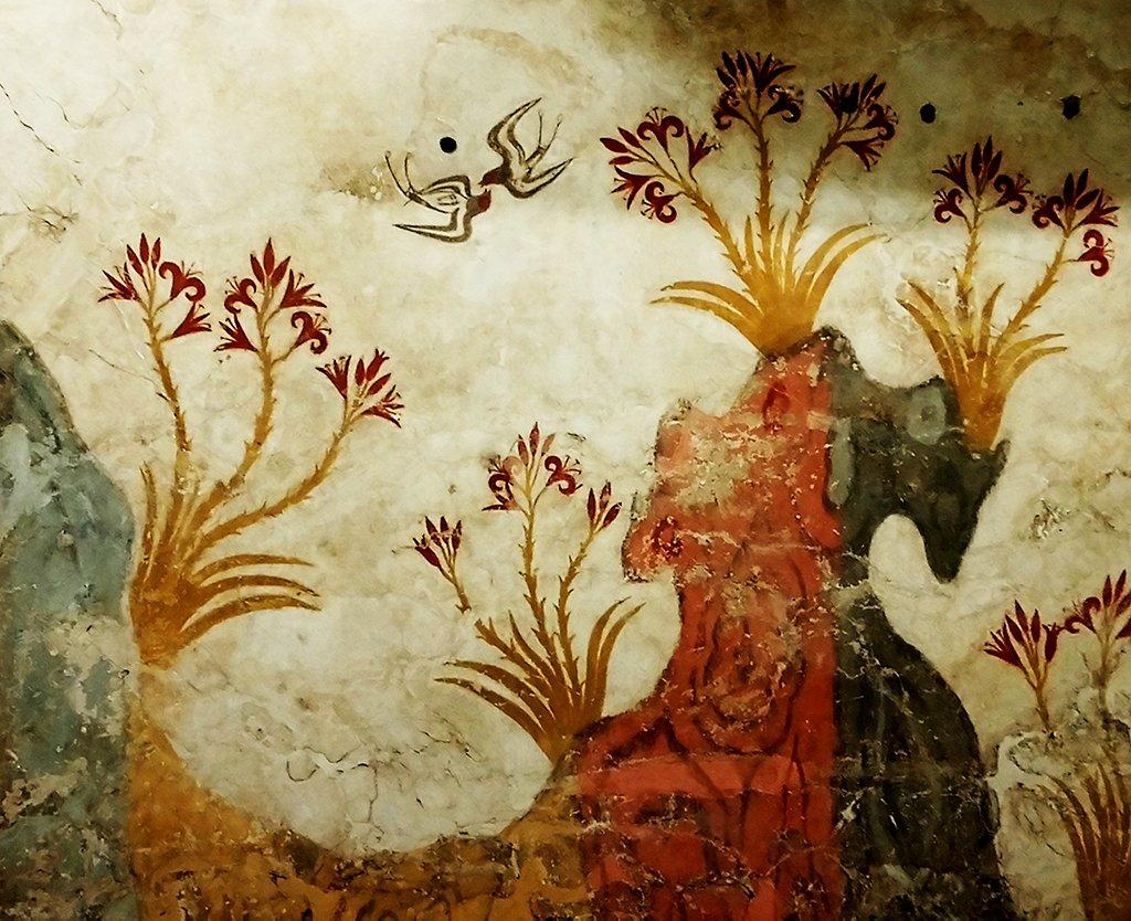 Santorini's Akrotiri Spring Fresco details