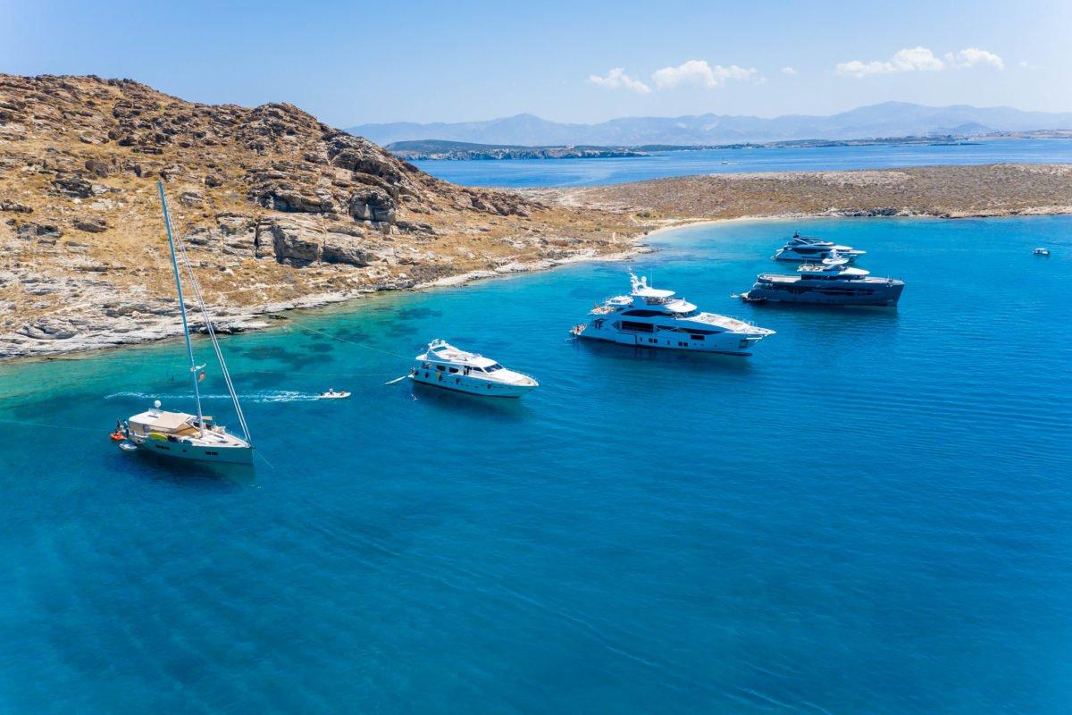 Luxury Yachts Between Tourkou Ammos and Monastiri Beach on Paros - greece insiders blog